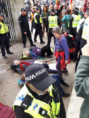 Extinction Rebellion Peace outside the MOD