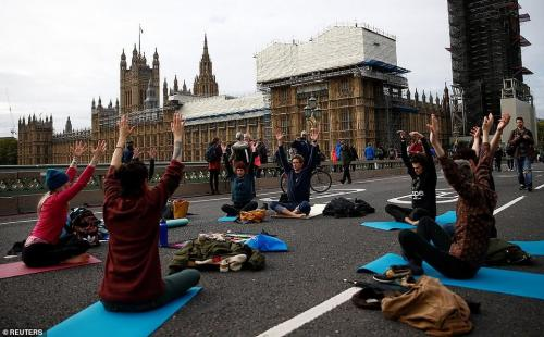 Westminster Bridge yoga. Reuters